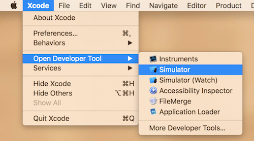 Open iOS simulator from Xcode